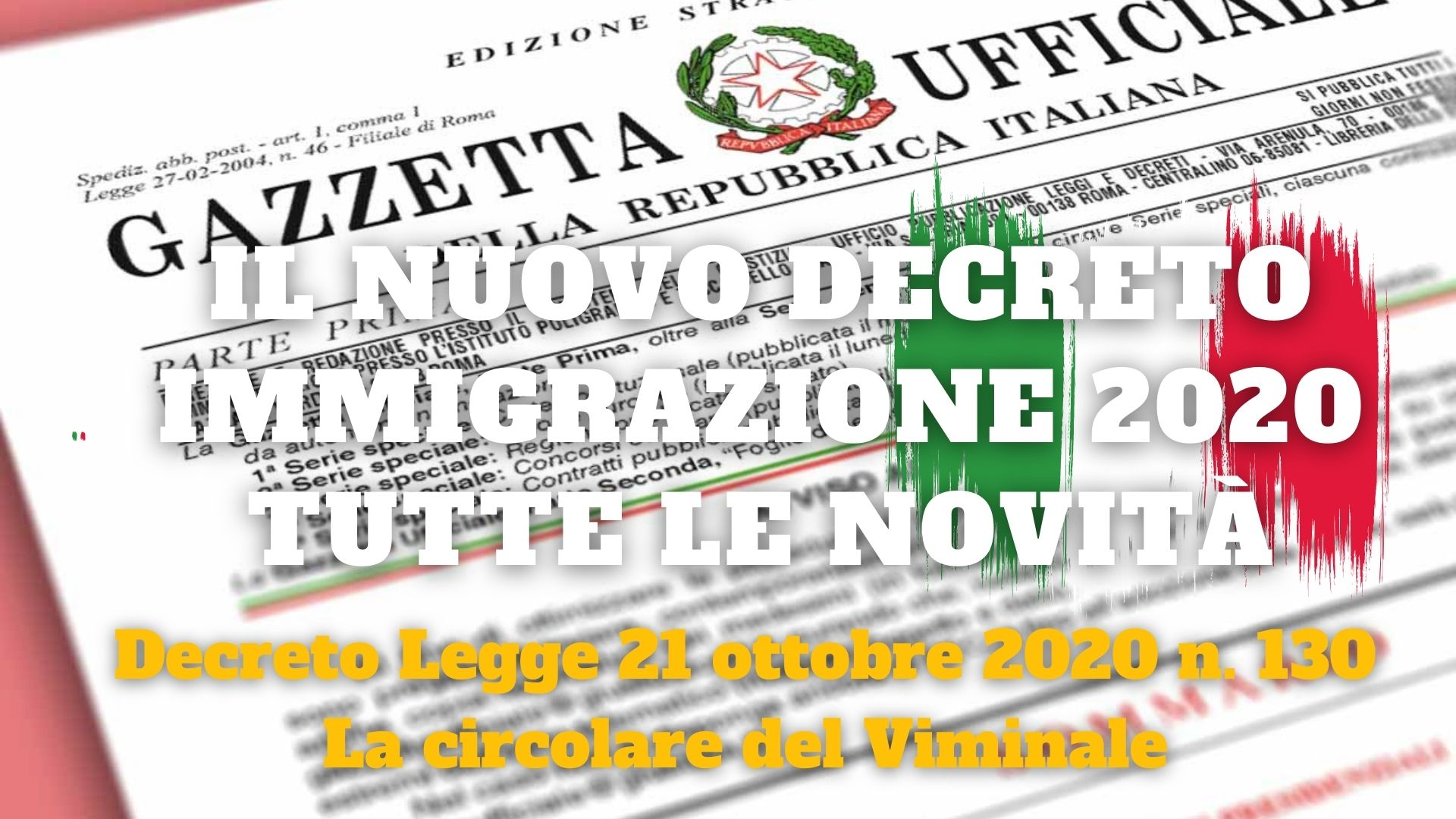 Special On Migrants. What Is Foreseen With The Immigration Security Decree Of Cosa Published On 21 October 2020